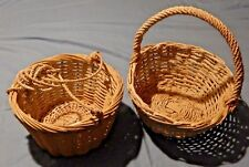 Vintage PAIR of Woven Wicker Rattan Rope Baskets Handled & Hanging NEVER USED