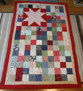 """New USA Hand Made Twin/Throw Quilt -Red Blue Green -Star - 54"""" x 80"""""""