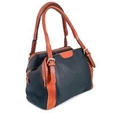 Argentine Leather Handbag Three Zippers - Blue/Cognac