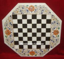 Marble Inlay Chess Game Table Top, Chess Design Inlay Marble Table Tops