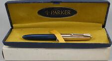 Parker Lady Duofold Blue & Gold Cap Fountain Pen In Box - France - 18kt Nib
