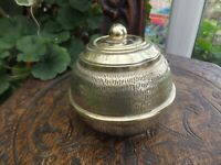 Antique Victorian Brass Round Tea Caddy  Tin Lined Tooled Pattern all round