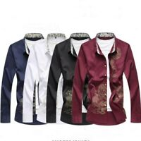 Spring Men Chinese Style Dragon Printing Long Sleeve Slim Fit Solid Casual Shirt