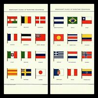 """Antique Picture Maritime Merchant Flags 1903  Julius Bien LITHOGRAPHS 10X6"""" DM1"""