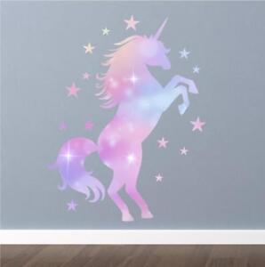 Unicorn Rainbow Dust Girls Nursery Wall Art Sticker Mural Decal Transfer P5Q