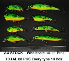 80 X Green MIX SIZE Fishing lures Minnow Popper Metal VIB Crank Lure Bait 80MG