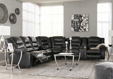 NEW Living Room Furniture Sectional BLACK Faux Leather Reclining Sofa Set IF25