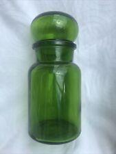 More details for vintage green apothecary bubble top glass storage jar cobalt belgium 22cm vgc