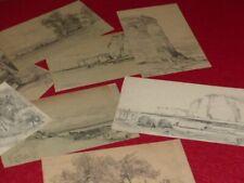 """[NORMANDIE] 8 TRES BEAUX DESSINS ORIGINAUX AU CRAYON """"LES GRANDES DALLES"""" 1887"""