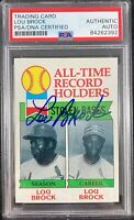 Lou Brock auto card 1979 Topps #415 MLB St. Louis Cardinals PSA Encapsulated