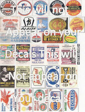 Assortment of 30 New Water Transfer Decals  Concert, Gas, Store Old & New
