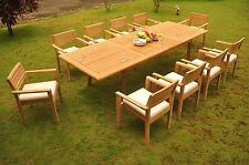 "11 PC TEAK OUTDOOR DINING SET 117"" RECTANGLE EXTN TABLE+10 MONTA STACKING CHAIRS"