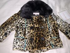 NWT Trish Scully Child Baby Girls Animal Instinct Pea Coat 6 Months Ruffle Back