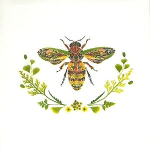 P196# 3 x Single Paper Napkins Decoupage Tissue Green Flower Bee Insect On White