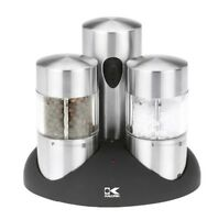 Kalorik Rechargeable Stainless Steel Salt & Pepper Grinder Set PPG-40738-BK NEW