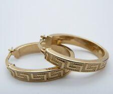 9ct Gold Greek Key Hoop/Creole Earrings boxed 9k/375/Carat