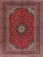 Vintage 8x11 Traditional Oriental Floral Area Rug Red Wool Hand-Knotted Carpet