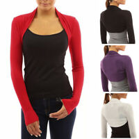 Womens Long Sleeve Shrug Bolero Ladies Cropped Cardigan Tops Coat Jacket
