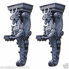 Set of 2 Gothic Dragons of Darkmoor Castle Wall Caryatids Wall Sculpture Decor
