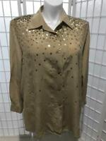 Women's Diane Gilman 2X Golden Tan  100% Silk Sheer Sequined Long Sleeve Blouse