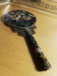 Vintage Highly Decorated Enamel/Cloisonne Style Hand Mirror
