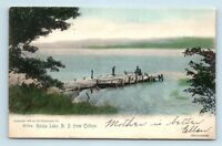 Keuka Lake, NY - NICE c1906 HANDCOLORED POSTCARD - DOCK VIEW FROM COLLEGE - A4