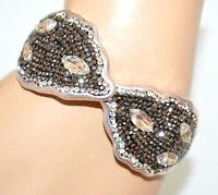 BRACELET argent gris rigide femme cristal strass élastique cérémonie élégant A9