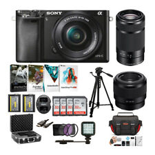 Sony Alpha a6000 Mirrorless Camera with 16-50mm 55-210mm and 50mm Lens Bundle