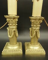 PAIR OF CANDLEHOLDERS LAMPS, LOUIS XVI STYLE, ERA 19TH - BRONZE - FRENCH ANTIQUE