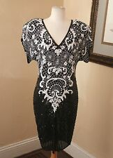 Vintage Swee Lo Silk Beaded Sequin Pearl White Black Cocktail Dress Evening S