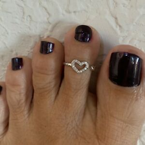 Sterling Silver CZ Hearts Toe Ring, Silver Rings, Heart Ring, Love Ring