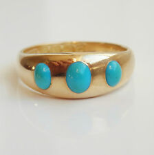 Stunning Antique Victorian 18ct Gold Cabochon Turquoise 'Trilogy' Ring c1899