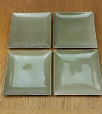 "4x Moor - 9.5"" stoneware square salad plate - khaki green"