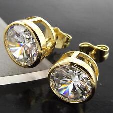STUD EARRINGS GENUINE 18K YELLOW G/F GOLD SOLID 1 CARAT DIAMOND SIMULATED DESIGN