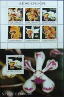Sao Tome & Principe-Mushrooms and Orhydeas-1M/Sh.+1S/Sh.,MNH**.STP 65