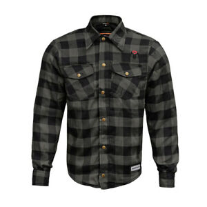 RIDERACT Motorcycle Riding Bikers Reinforced Flannel Grey Multibox Checker Shirt