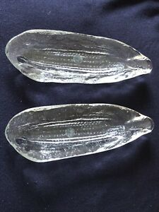 """10"""" Glass Corn On The Cob Dishes Country Meadow Crystal Clear"""