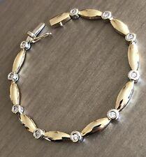 Vintage Solid 9ct Yellow Gold Diamond Bracelet 0.50ct Link Statement 9g