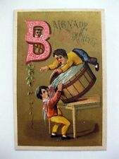 1880s Victorian Era Trade Card French Boys Playing in Barrels Baignade Impraevue