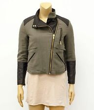 ZARA Basic Green Knit Faux Vegan Leather Combo Moto Zip Jacket Sz M