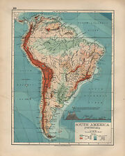 1897 VICTORIAN MAP ~ SOUTH AMERICA ~ PHYSICAL SHOWING MOUNTAIN HEIGHTS