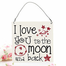 I Love You to The Moon and Back Cute Metal Plaque Sign Retro Shabby Chic 10x10cm