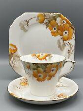 SHELLEY ORANGE PHLOX FLOWERS TRIO - CUP, SAUCER & SIDE-PLATE 0235