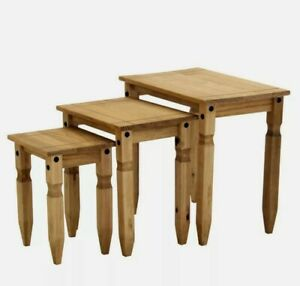 CORONA  Waxed Rustic distressed Pine Piccolo Nest of 3 Side Tables Brown