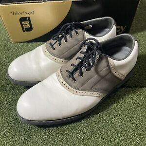 Footjoy Softjoys Golf Shoes Mens Size 9 White Brown Spikes with Box
