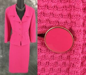 3 Piece Suit Cami Jacket Skirt Modern Vintage Suit 60s 70s St John for Saks Fifth Avenue Knit Suit Coral Red /& Beige