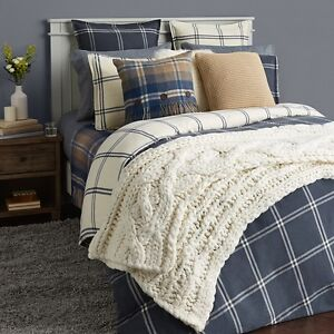 UGG KING  REVERSIBLE BLUE  OCEAN FLANNEL WINDOW PANE  4 PIECE DUVET SET $482