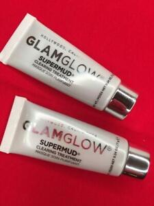 2x GLAMGLOW Supermud Clearing Treatment Mask .24oz Each, Travel Size - FREE SHIP