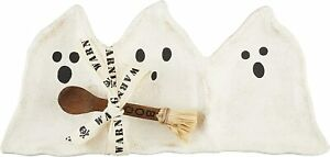 "Mud Pie H1 Halloween Ghost Triple Dip Dish Set, 6"" x 13"" 2pc Set 48500191"