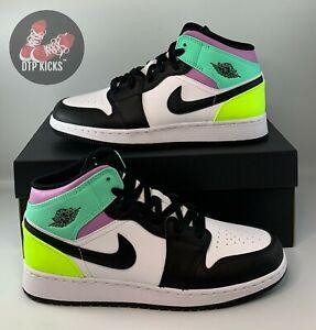 NEW Nike Air Jordan 1 Mid GS Pastel Volt Green Glow Black Size 7Y 554725-175